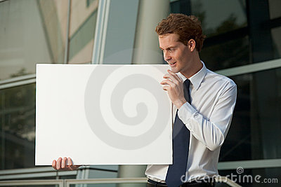 Cheerful Businessman Staring Blank Poster Sign