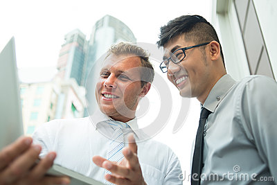 Cheerful businessmen