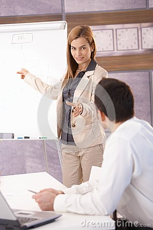 Cheerful businesswoman presenting over board