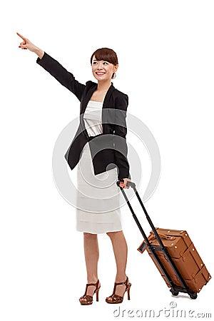 Cheerful businesswomen with travel bag