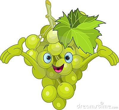 Cheerful Cartoon Grape character