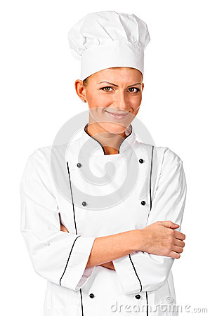 Cheerful chef with arms crossed