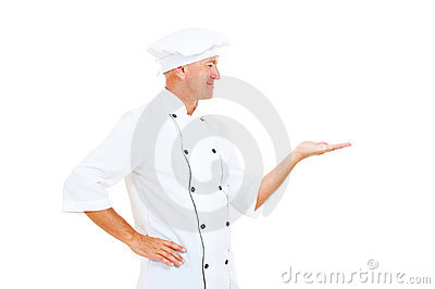 Cheerful Chef Holding Something On His Palm Royalty Free Stock Images - Image: 21054619