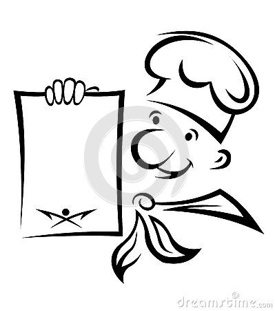 Cheerful chef with menu