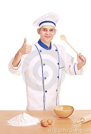 A cheerful chef preparing to cook with thumbs up