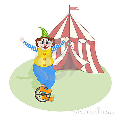 cheerful clown unicycling