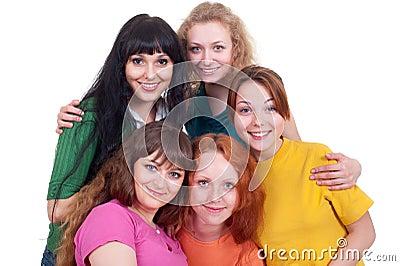 Cheerful company of happy girls
