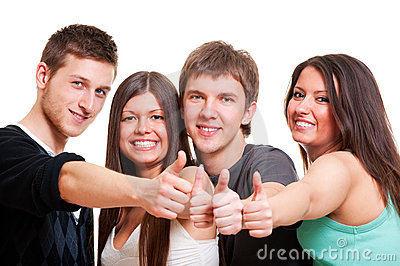 Cheerful company showing thumbs up