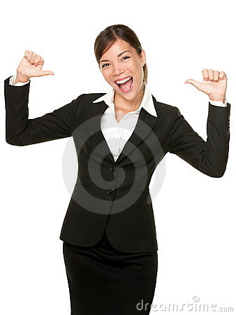 Cheerful confident young business woman