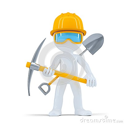 Cheerful construction worker/builder posing with tools