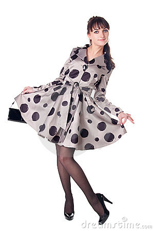 Cheerful coquette in retro style dress