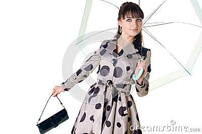 Cheerful coquette in retro style dress.
