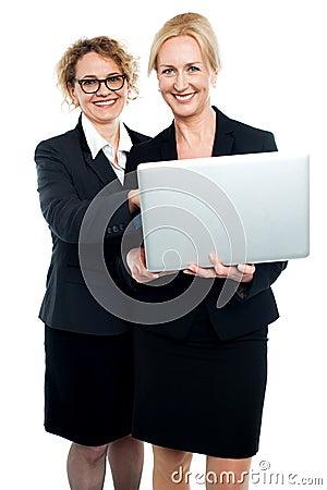 Cheerful corporate ladies using laptop