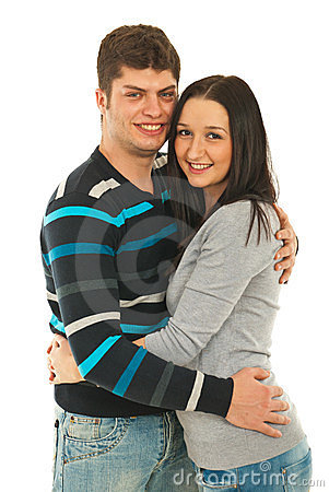Cheerful couple in embrace