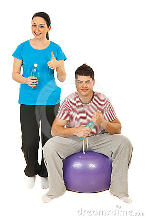 Cheerful couple  in gym club