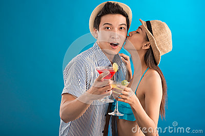 Cheerful couple in-love