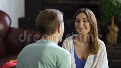 Cheerful couple in love embracing at home. stock footage