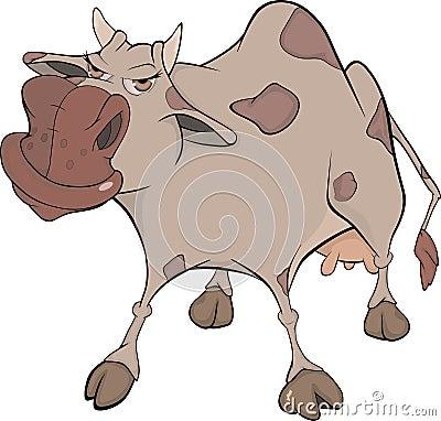 Free Cheerful Cow. Cartoon Royalty Free Stock Photos - 24168578
