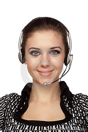 Cheerful customer service operator