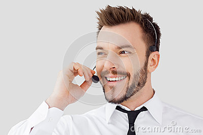 Cheerful customer service representative.