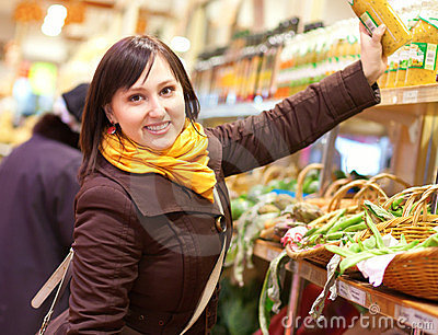 Cheerful customer at the vegetable market