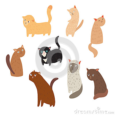 Cheerful cute cats on white backgrounds Vector Illustration