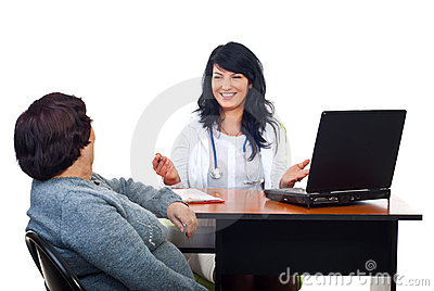 Cheerful doctor woman give advices to patient