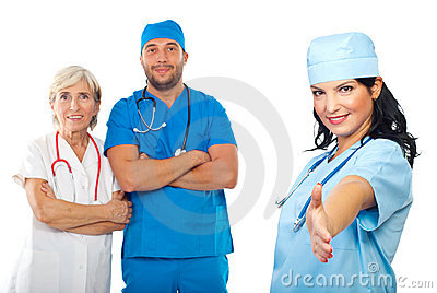 Cheerful doctor woman give handshake