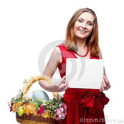 Cheerful easter woman