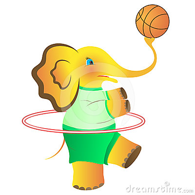 The cheerful elephant who is going in for sports.