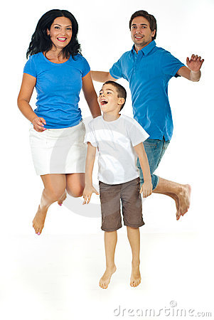 Cheerful family jumping