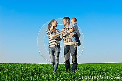 Cheerful family walking