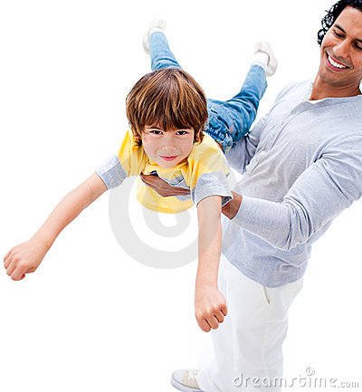Cheerful father and his boy playing together