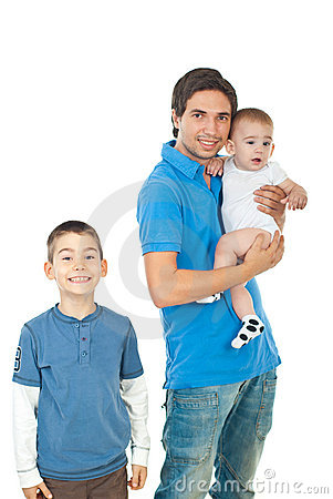 Cheerful father with two boys
