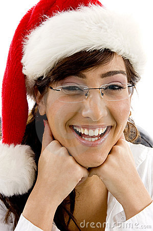Cheerful female attorney in christmas hat