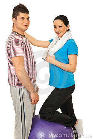 Cheerful fitness couple
