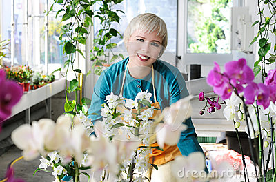Cheerful florist
