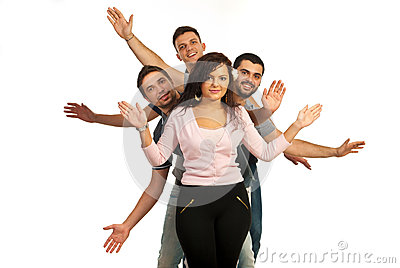 Cheerful friends showing their hands