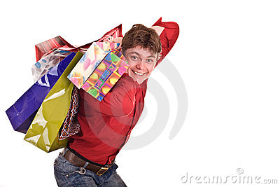Cheerful funny  happy shopping man.