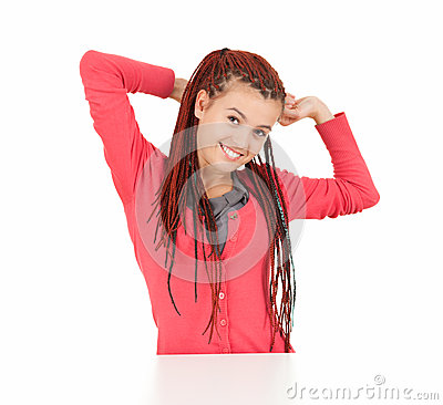 Cheerful girl with african plaits