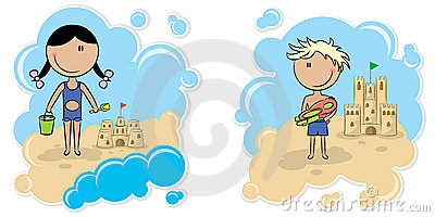 Cheerful girl and boy and the sand castle