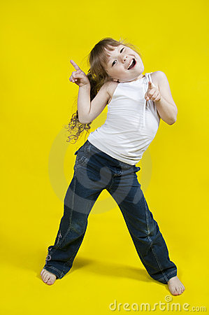Cheerful girl dances.