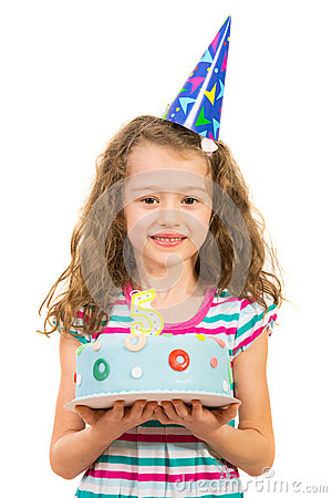 Free Cheerful Girl Holding Birthday Cake Stock Images - 39023714