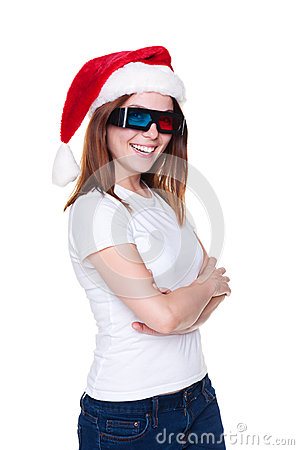 Cheerful girl in santa hat and 3d glasses