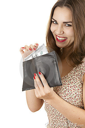 Cheerful girl taking hundred dollars from wallet