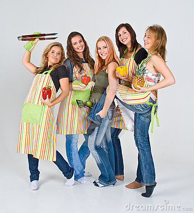 Free Cheerful Girls Ready To Cook Stock Photo - 4931490