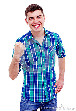 Cheerful guy with raised fist