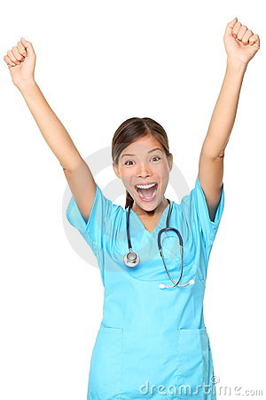 Cheerful happy medical nurse woman isolated