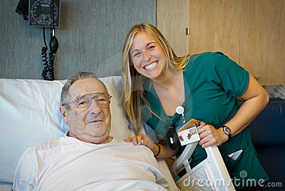 Cheerful healthcare worker with her patient.