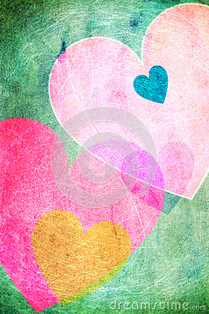 Cheerful hearts background vintage